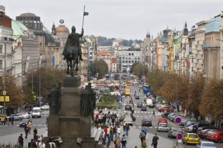 Image: 0006824546, License: Rights managed, Restrictions: Corbis represents exclusive rights to this image., The bronze equestrian statue of St Wenceslas looks over Wenceslas Square, which was once a medieval horse market. The historic center of Prague is listed as a UNESCO World Heritage Site, Property Release: No or not aplicable, Model Release: No or not aplicable, Place: Prague, Czech Republic, Credit line: ., Corbis